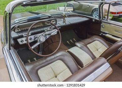 Belgrade, Serbia - May 24 2015: Interior of 1960 Buick Electra 225 Convertible oldtimer car