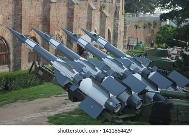 Belgrade, Serbia - May 25, 2019: The S-125 Neva/Pechora Soviet surface-to-air missile system at Kalemegdan Fortress.