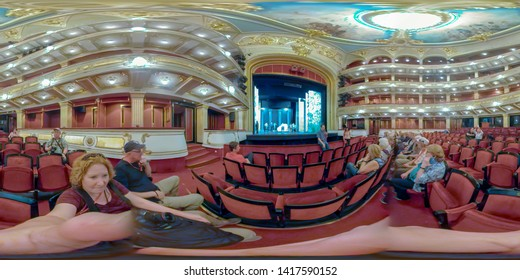 Belgrade, Serbia - May 25, 2019 :  Tourists in the serbia National Theater and Opera House.