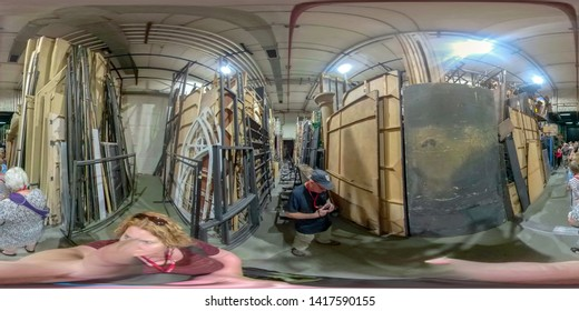 Belgrade, Serbia - May 25, 2019 :  Tourists backstage in the serbia National Theater and Opera House.
