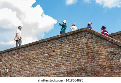 Belgrade, Serbia - May 25, 2019: Group of Asian tourist exploring Belgrade, capital of Serbia On Kalemegdan fortress, one of the main tourist hotspot in the city.