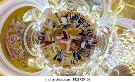 Belgrade, Serbia - May 25, 2019 :  Interior of Cathedral of St. Sava in Belgrade Serbia with tourists in 360.
