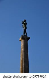 Belgrade, Belgrade / Serbia - May 26 2019: The Victor Monument closeup Fortress Kalemegdan Park Danube Sava river clear blue sky