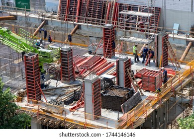 Belgrade, Serbia, May 28, 2020: View of apartment complex construction site in Zemun