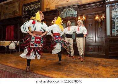 Belgrade, Serbia May 29, 2018 - Famous tavern Dva jelena, Skadarlija, folklore dance in Vlach national costumes