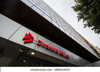 BELGRADE, SERBIA - MAY 30, 2020: Direktna Banka logo on their local office in Belgrade. Direktna Banka is a commercial and retail bank, entirely controlled by Serbian capitals.
