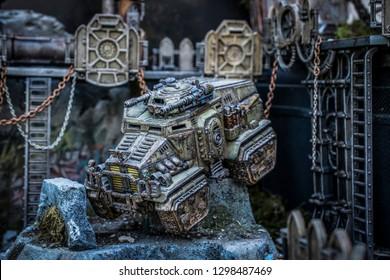 Belgrade, Serbia – May 5th 2018: Hand-painted Warhammer 40k Vehicle