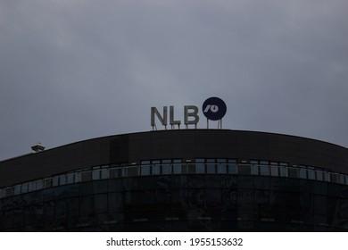 Belgrade, Serbia - April 11, 2021: NLB Banka logo sign on their headquarters in Belgrade