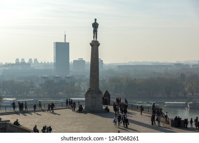 BELGRADE, SERBIA - NOVEMBER 10, 2018: The Victor monument at Belgrade Fortress, Kalemegdan Park, Sava and Danube Rivers in city of Belgrade, Serbia