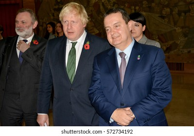 Belgrade, Serbia. November 10th 2016 - British Foreign Minister Boris Johnson in official visit to Serbia meets Serbian Foreign Minister Ivica Dacic and Guatemala Foreign Minister Carlos Raul Morales