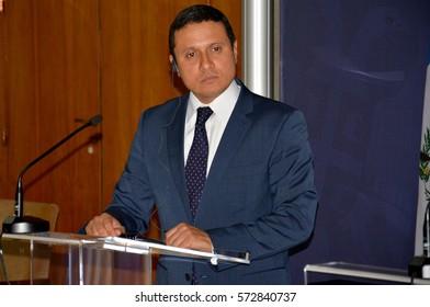 Belgrade, Serbia. November 10th 2016 - Guatemalan Foreign Minister Carlos Raul Morales at official visit to Serbia gives a press statement