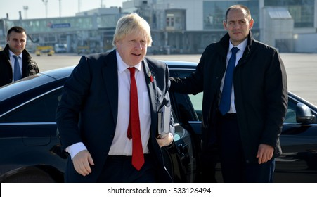 Belgrade, Serbia. November 11th 2016 - Boris Johnson, Secretary of State for Foreign and Commonwealth Affairs with his book, The Churchill Factor