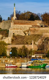 Belgrade / Serbia - November 12th 2018: Belgrade Fortress (Kalemegdan) and Victor Monument on a hill above Sava river.