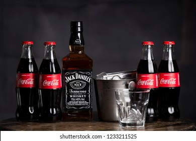 BELGRADE, SERBIA , NOVEMBER 13 2018 :  Bottle of Jack daniels with coca cola drinks.