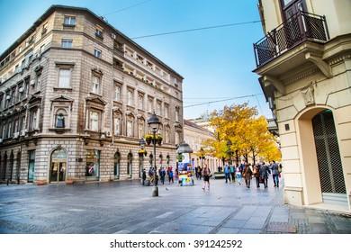 Belgrade, Serbia - November 2, 2014: The old street Skadarlija in Belgrade, people, yellow autumn trees