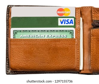 BELGRADE, SERBIA - NOVEMBER 20, 2014: View at credit cards in the wallet in Belgrade, Serbia. There are credit cards issued by the three major brands American Express, VISA and MasterCard.