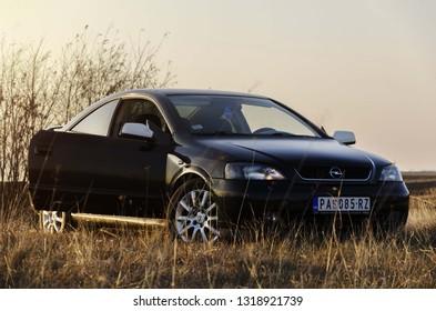 Belgrade, Serbia - November 22 2016 : Opel Astra G bertone. Sport black car