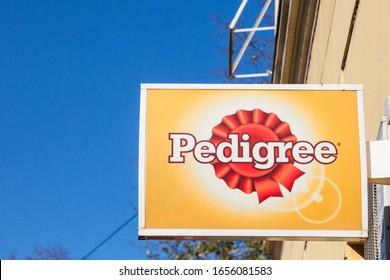 BELGRADE, SERBIA - NOVEMBER 23, 2019: Pedigree petfoods logo on a local retail pet store in belgrade. Pedigree Petfoods is an American brand of pet feed and supplies part of Mars group.