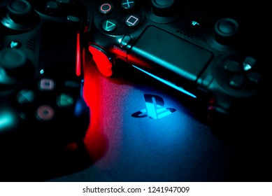 BELGRADE, SERBIA , NOVEMBER 26 2018: PS4 console background. Playstation 4 controllers. Sony gaming console