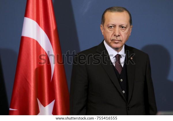 BELGRADE, SERBIA - Oct. 12, 2017: Turkish President Recep Tayyip Erdogan during his official visit to Serbia