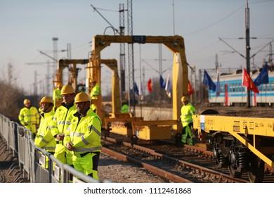 BELGRADE, SERBIA, Octob 28, 2017. Railway workers build railways. China Railways International and China Construction Company participate in Modernization of Belgrade-Budapest railroad. Belgrade 2018