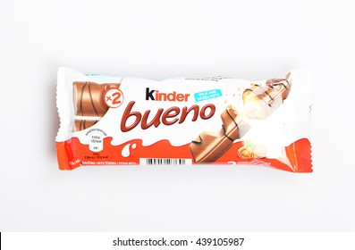 BELGRADE, SERBIA - October 08, 2014:  Closeup of Kinder Bueno Chocolate Candy Bar made by Ferrero isolated on white background