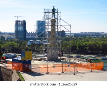 Belgrade, Serbia, October 08, 2019. The Victor monument on Kalemegdan fortress. Preparation for the first reconstruction since 1928, when the monument was build.