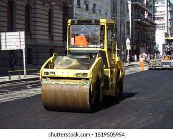 Belgrade, Serbia, October 1, 2019. Steamroller finishing asphalt street in downtown.