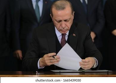 Belgrade, Serbia - October, 10. 2017. - President of Turkey Recep Tayyip Erdogan on press conference in Belgrade, Serbia