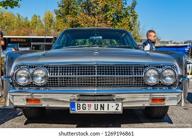 Belgrade, Serbia - October 13, 2018: An oldtimer exhibition in the parking lot in front of the Rakovica Municipality in Belgrade, Serbia. Lincoln Continental [JOHN NAISBITT] from 1963.