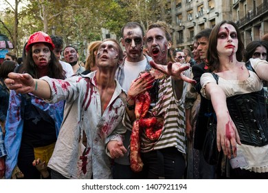 Belgrade, Serbia - October 20, 2012: People masked as zombies parades on streets during a zombie walk. Zombie walk is organized before Serbian SF movie festival.
