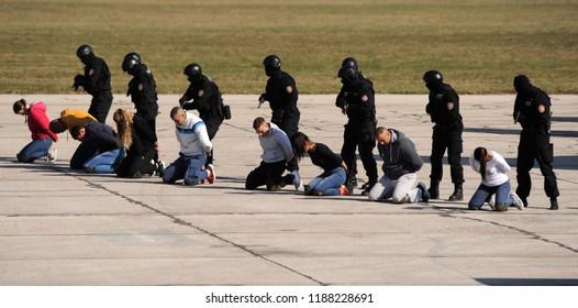 BELGRADE, SERBIA - OCTOBER 20, 2017: Special police team drill arresting terrorists on hijacked plane, October 20. 2017 in Belgrade