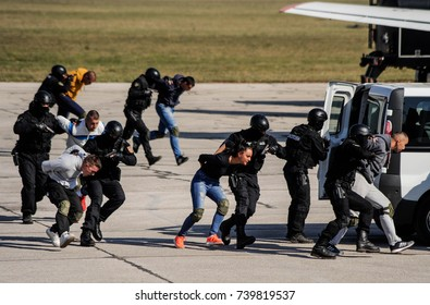 BELGRADE, SERBIA - OCTOBER 20, 2017: Special police team drill arresting terrorists on hijacked plane, October 20. 2017 in Belgrade