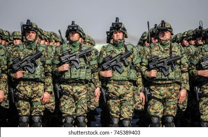 BELGRADE, SERBIA - OCTOBER 20, 2017: Special army force unit full equiped standing in line, October 20. 2017 in Belgrade