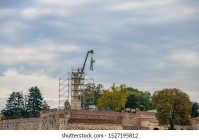 BELGRADE, SERBIA - OCTOBER, 2019: Reconstruction of the monument Victor (Pobednik) at Kalemegdan fortress in Belgrade, Serbia