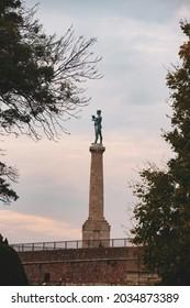 BELGRADE, SERBIA - October 2020: Pobednik the Victor statue in Kalemegdan park in central Belgrade, Serbia