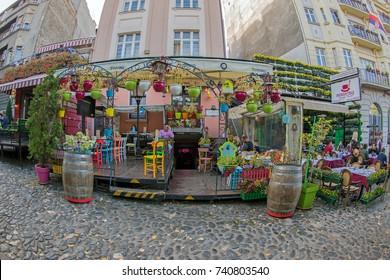 BELGRADE, SERBIA - OCTOBER 21, 2017 - Restaurant on the old street Skadarlija, the main bohemian place of Belgrade.