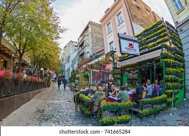 BELGRADE, SERBIA - OCTOBER 21, 2017: Restaurants on the old street Skadarlija, the main bohemian place of Belgrade.