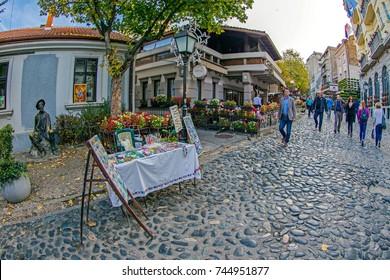BELGRADE, SERBIA - OCTOBER 21, 2017: Skadarlija, the main bohemian place of Belgrade.