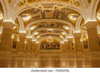 Belgrade, Serbia - October 24, 2017: The Serbian Orthodox Christian Church of St Sava