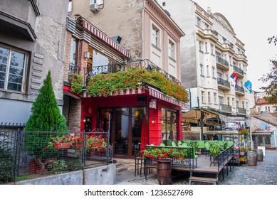 Belgrade, Serbia - October 25, 2018: Cafes in Skadarlija (Skandarska), Belgrade