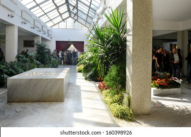 Belgrade, Serbia - October 26, 2013: The grave of Josip Broz Tito. Jovanka Broz, Yugoslavia's former First Lady built by her husband Josip Broz Tito in the House of Flowers mausoleum.