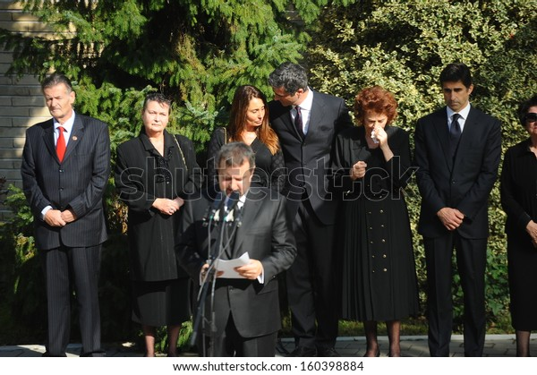 Belgrade, Serbia - October 26, 2013: Prime Minister Ivica Dacic is speaking at the funeral of Jovanka Broz. Jovanka Broz, Yugoslavia's former First Lady built by her husband Josip Broz Tito in the House of Flowers mausoleum.