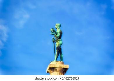 BELGRADE, SERBIA, October 27 2017: The Winner monument at Upper Town of fortress in Belgrade, Serbia.