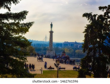 BELGRADE, SERBIA, October 27 2017: Visitors during sightseeings of The Winner, a monument located at old fortress in Belgrade, Serbia.