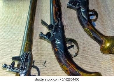 BELGRADE, SERBIA, October 27 2017: Old flintlocks exposed at Military Museum in Belgrade, Serbia.