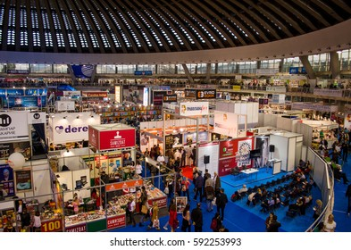 BELGRADE, SERBIA - OCTOBER 28, 2016: International Belgrade Book Fair, one of the oldest and most important literary events in the region. Belgrade Fair Grounds