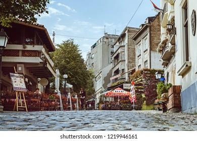 Belgrade, Serbia - October 3, 2018: View of Skadarlija Street in Belgrade on October 3, 2018 in Belgrade, Serbia