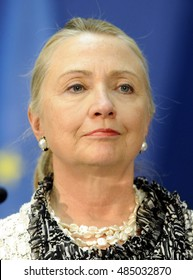 BELGRADE, SERBIA - OCTOBER 30, 2012: United States Secretary of State Hillary Clinton at press conference during official visit to Serbia, on October 30, 2012 in Belgrade