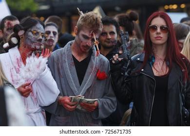 Belgrade, Serbia - October 30, 2017: Belgrade ZOMBIE WALK - Festival of Serbian Fantastic Film. People dressed as a zombie parades on a street during a zombie walk in Belgrade.